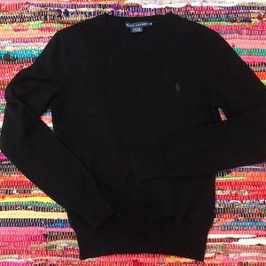 100% Cashmere Ralph Lauren Black Crewneck Sweater